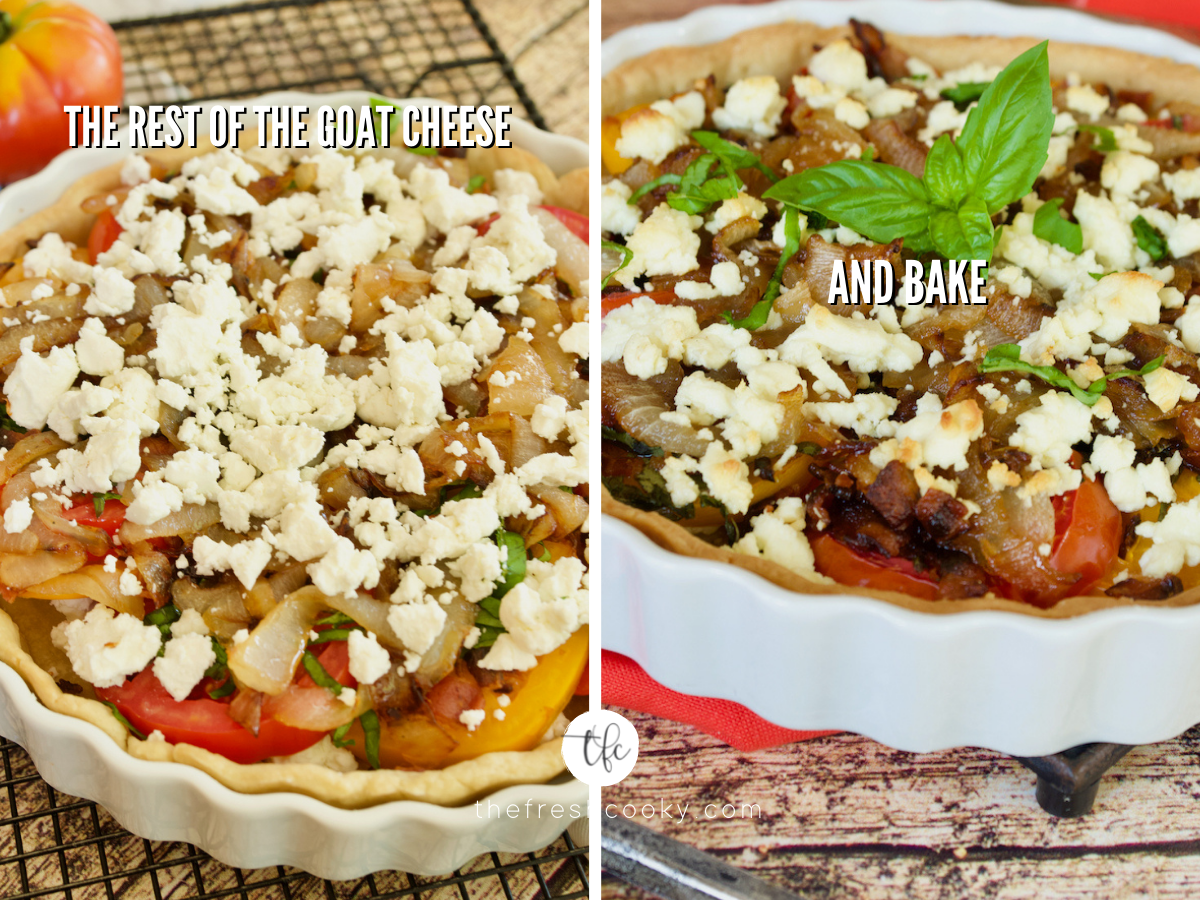 Process shot for heirloom tomato pie with fresh goat cheese place on top of unbaked pie and second image of baked tomato pie.