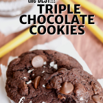 Long pin with image of triple chocolate cookies with school supplies laying around and a glass of chocolate milk.