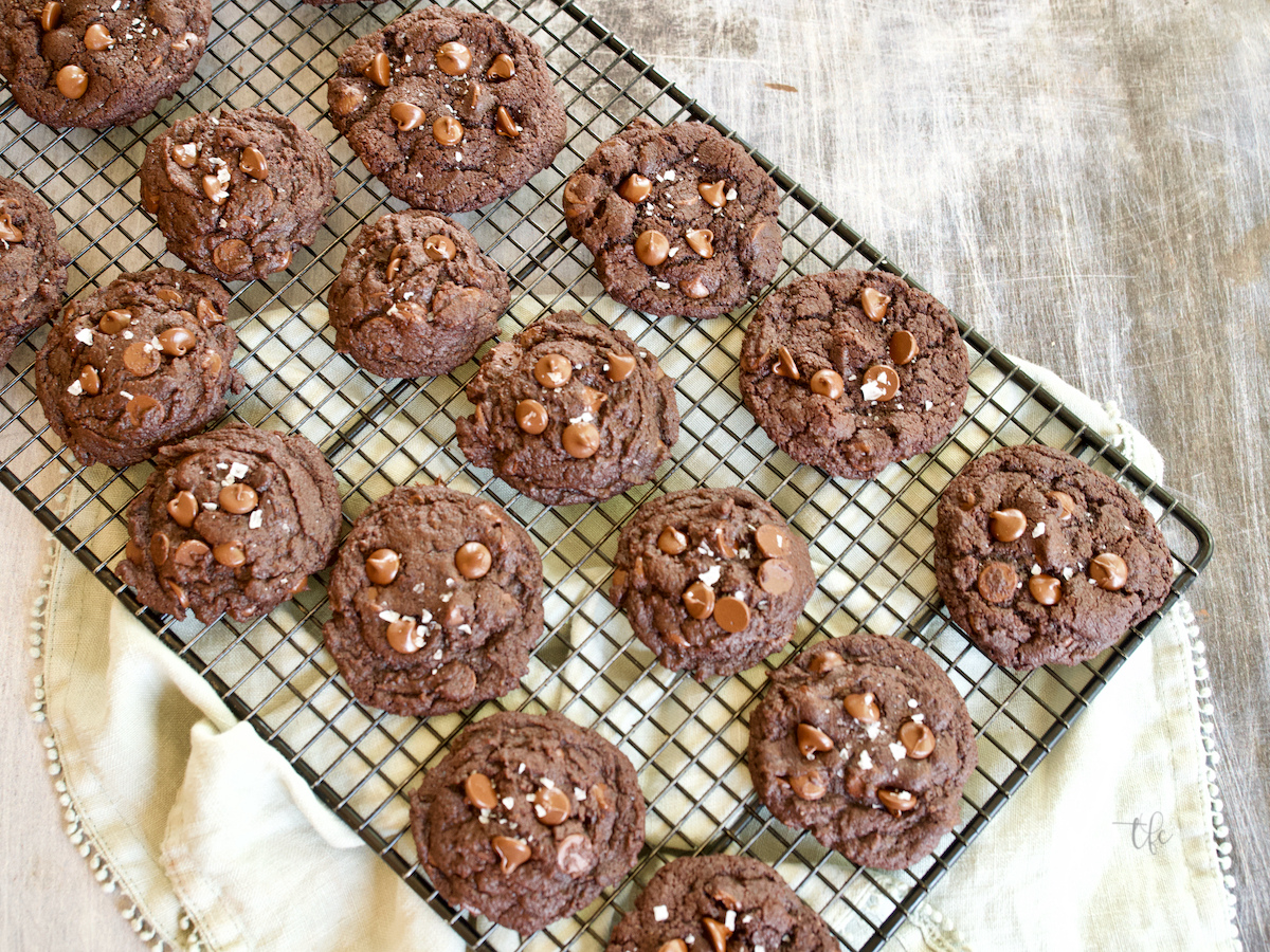 Triple Chocolate Cookies cooling on wire rack.