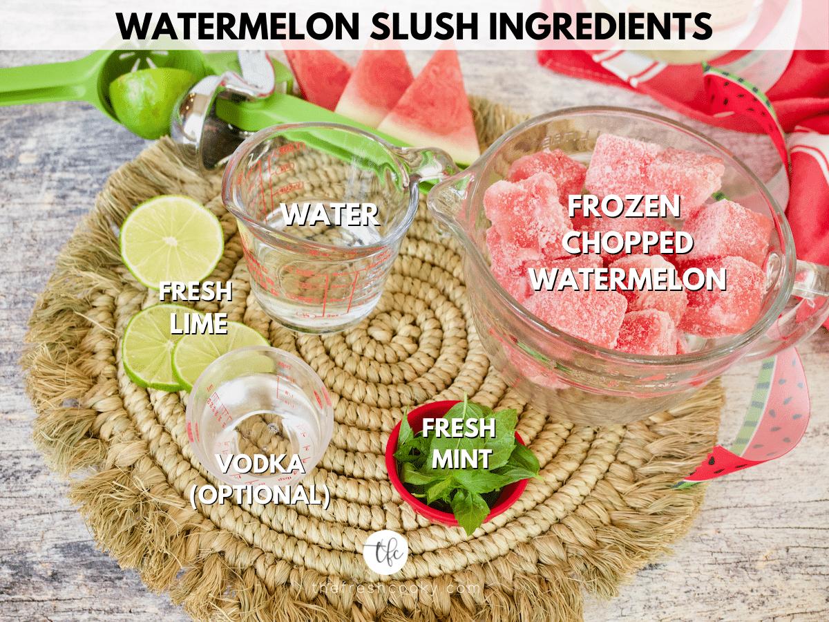 Watermelon Slush ingredient shot, L-R Limes, water, frozen watermelon, mint leaves and optional vodka.