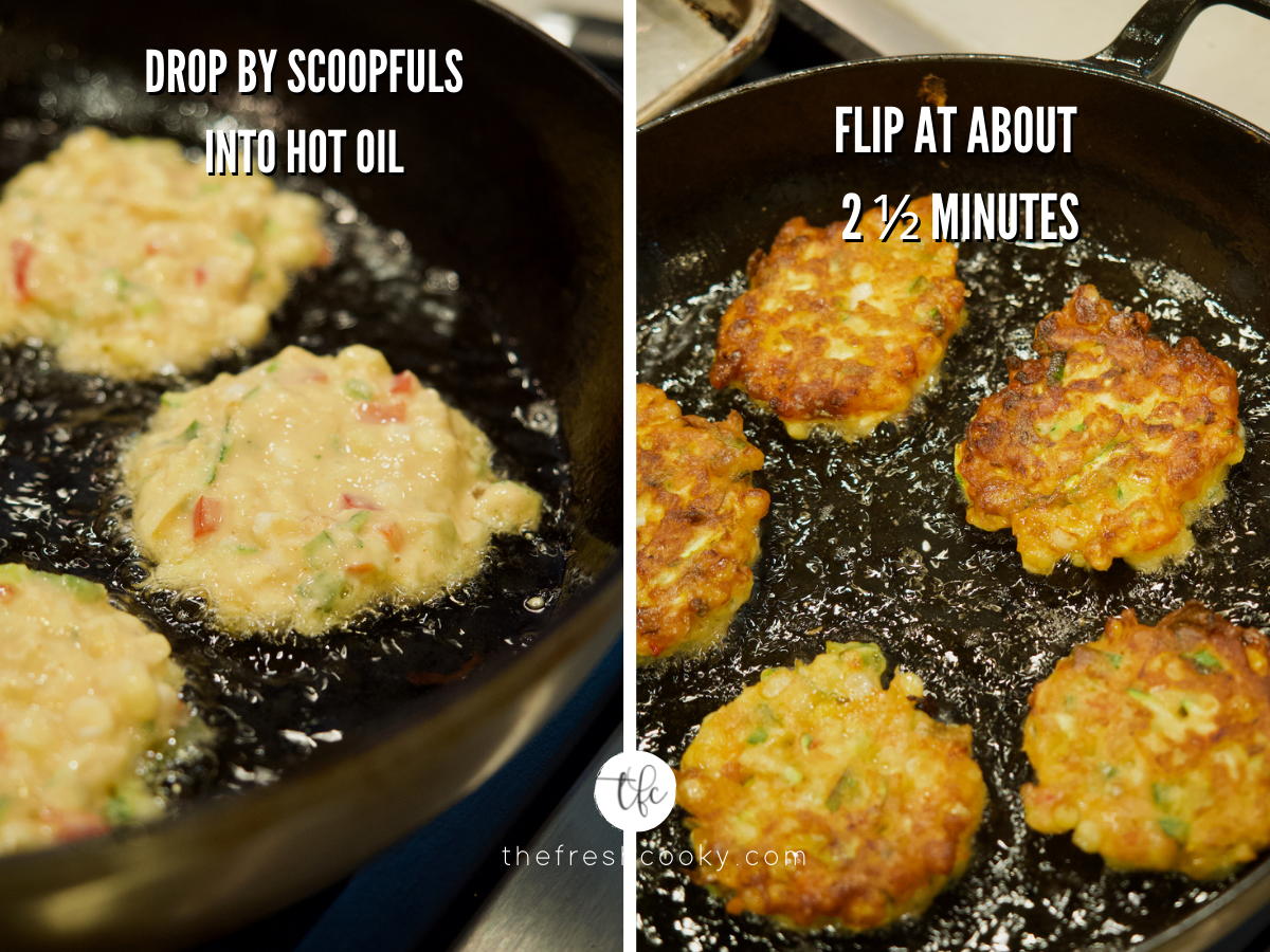 Process shots for zucchini corn fritters first image of fritters in pan of hot oil and second image is after flipping fritters crisping on the second side in a pan with hot oil.