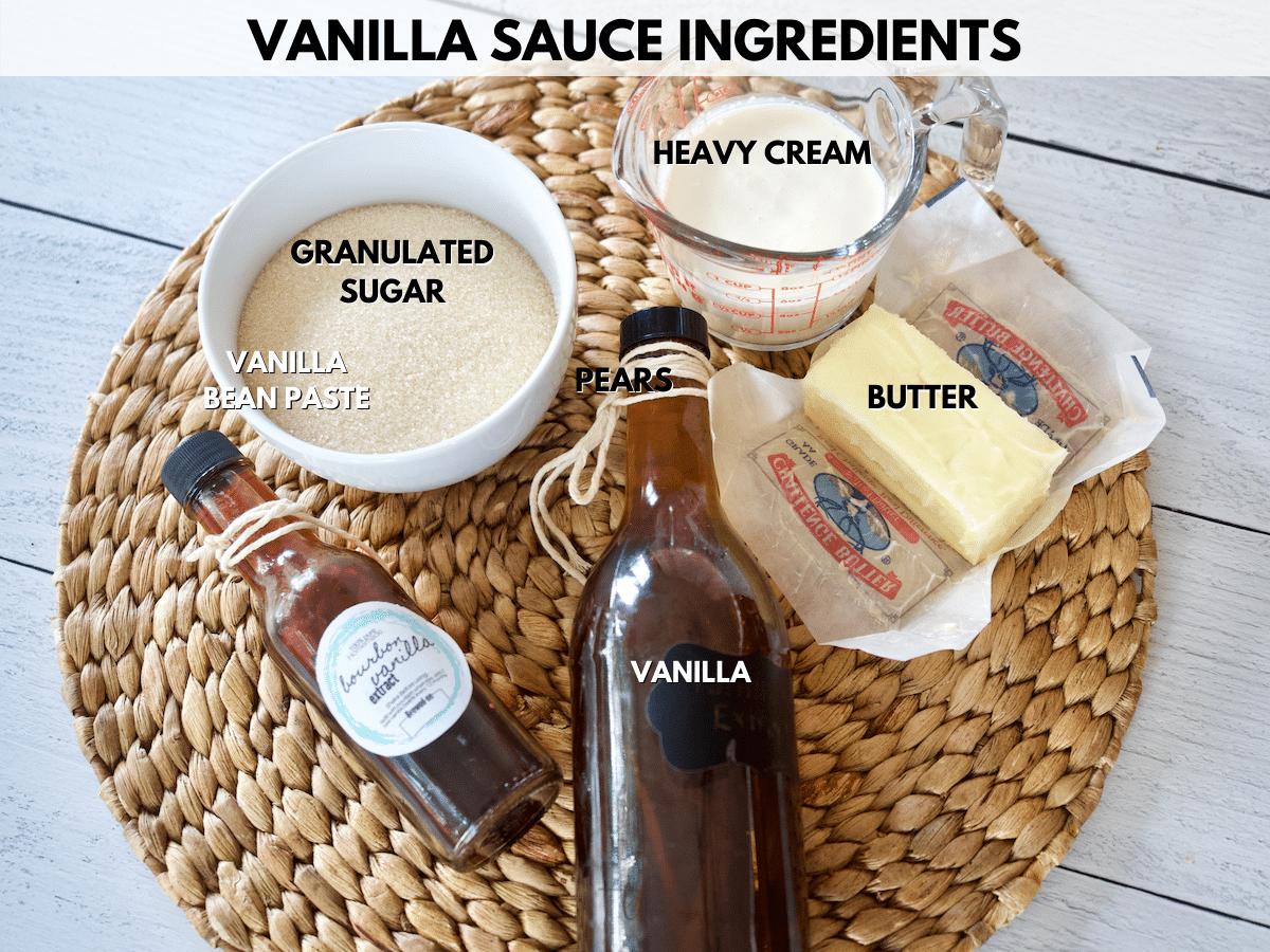 Vanilla sauce ingredient shot L-R Granulated sugar, heavy cream, butter, vanilla, bourbon vanilla.