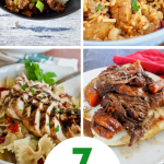 Pin with four images of easy slam-dunk dinner ideas and recipes. Images of mongolian beef, jambalaya, bow-tie pasta and slow cooked pot roast.