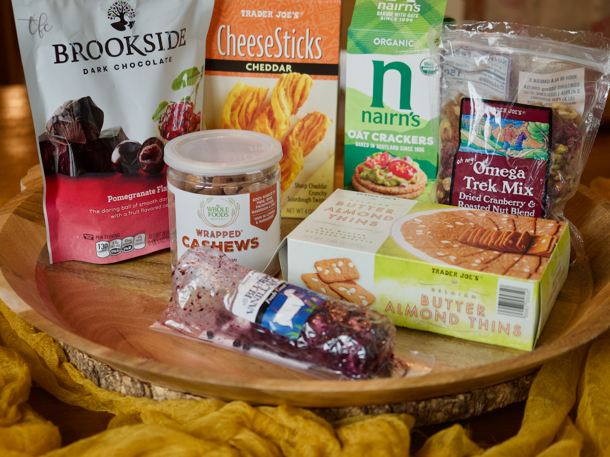 Shot of brands and speciality items for the Fall Charcuterie Board.