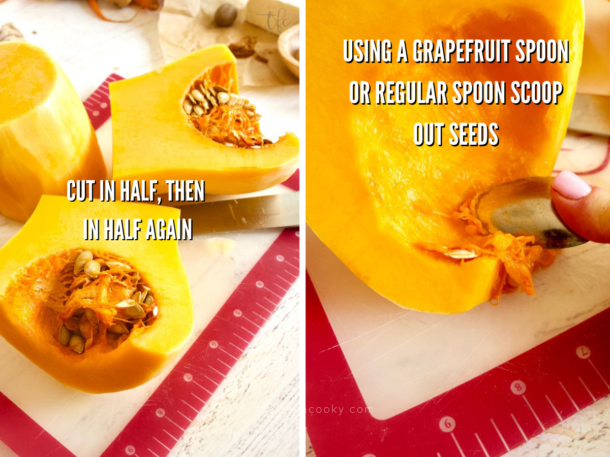 Process shots for cutting a butternut squash, with first image of squash cut in half and then in quarters, second image of spoon scooping out seeds and slime for Autumn squash soup.