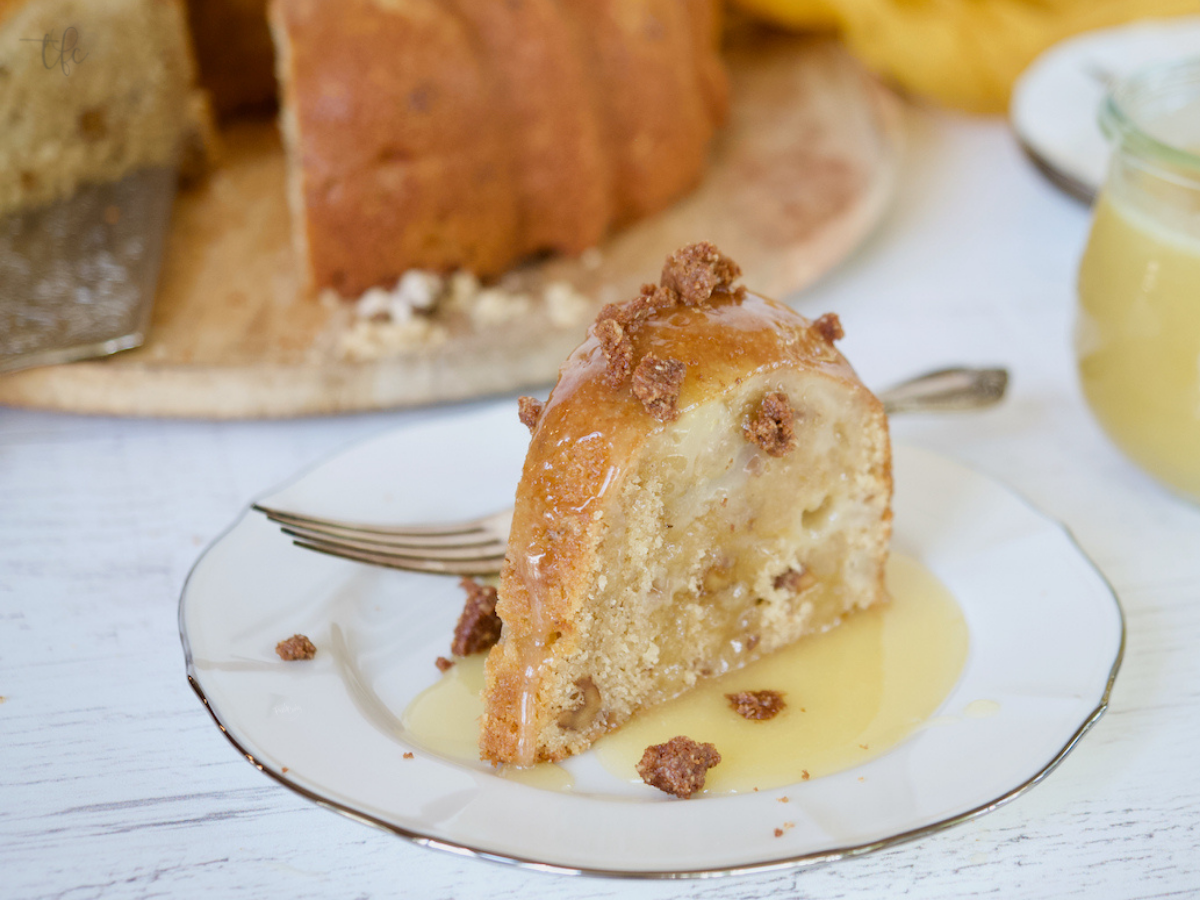 Pear Bundt Cake with graham cracker crumble topping on top.