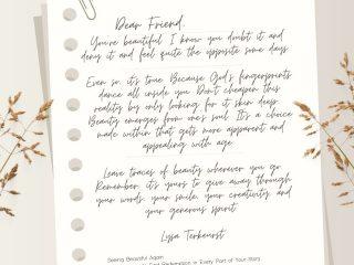 Instagram post with letter from Lysa Terkeurst.