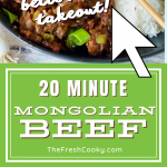 Pin for Mongolian Beef, with two images, top image of Mongolian beef in a black bowl with rice, broccoli and chopsticks.