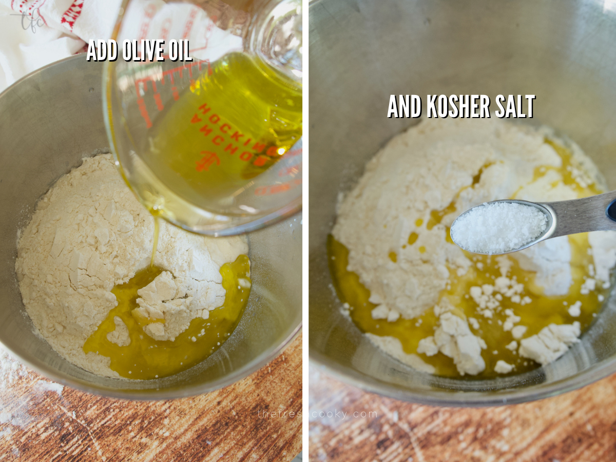 Pizza dough process shots adding olive oil to flour mixture and kosher salt.