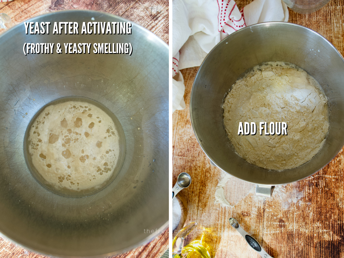 Pizza dough recipe process shots frothy yeast and adding flour to mixture.