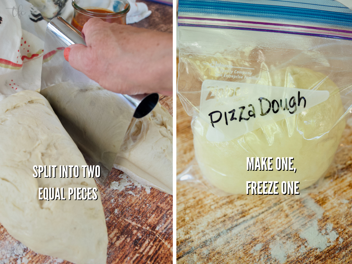 Pizza dough recipe splitting dough in half and placing one portion in a freezer baggie.