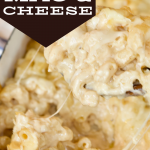 Single image pin for smoked mac and cheese with casserole dish and spoon scooping up.