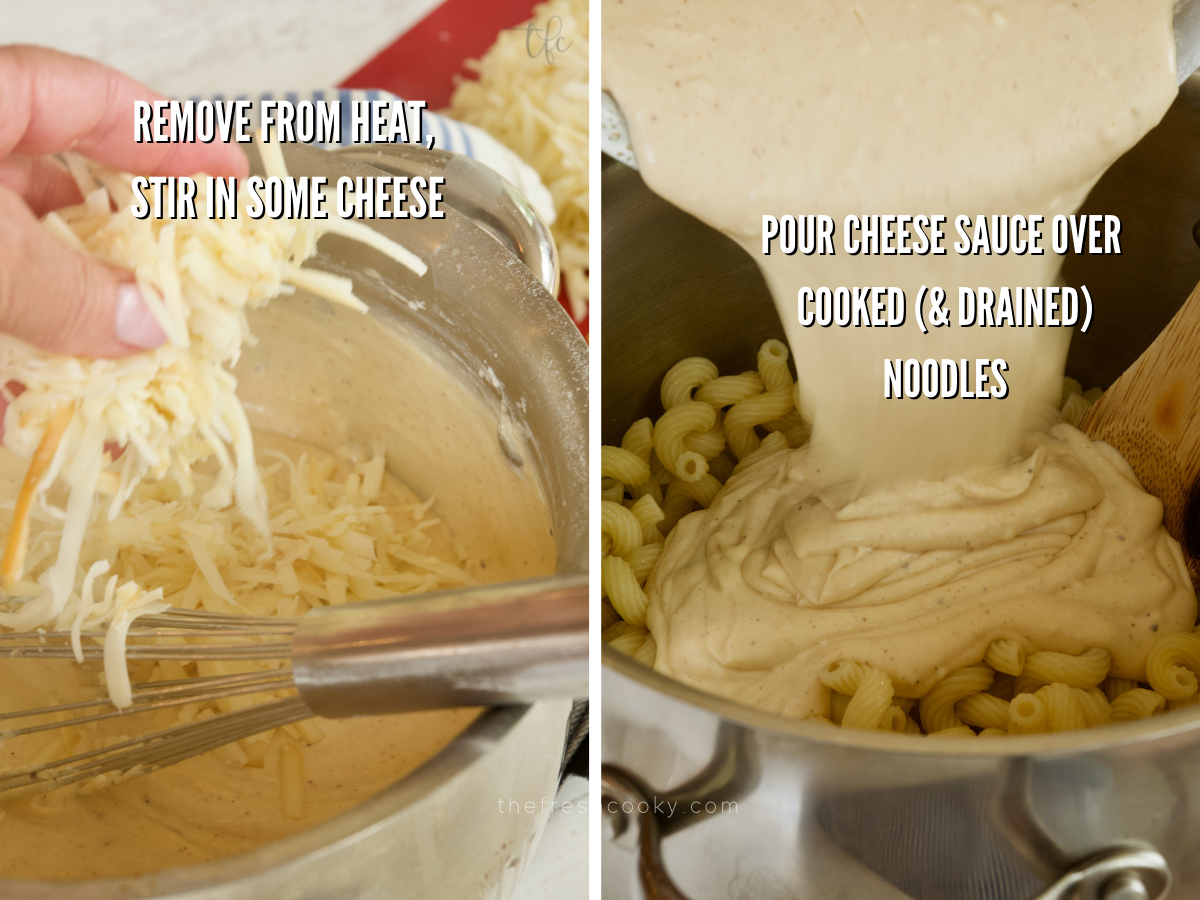 Adding shredded cheese to smoked mac and cheese sauce, pouring finished sauce over cooked macaroni.