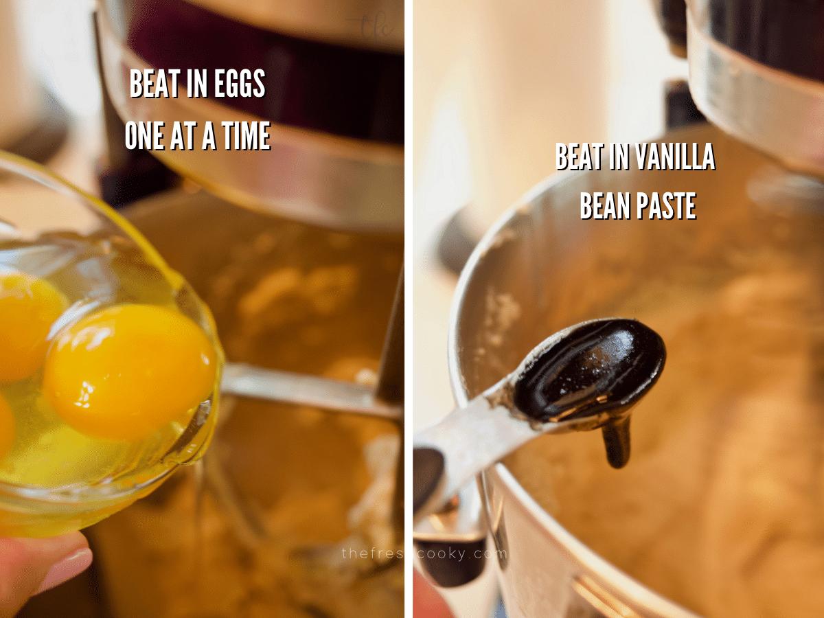Adding eggs and vanilla to pear cake recipe.