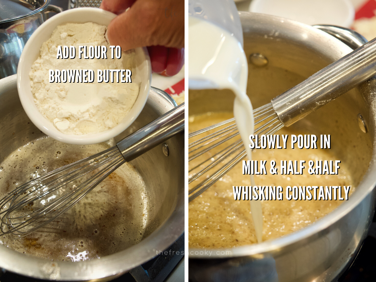 Smoked Mac and Cheese process shots, adding flour to butter and whisking in cream and milk.