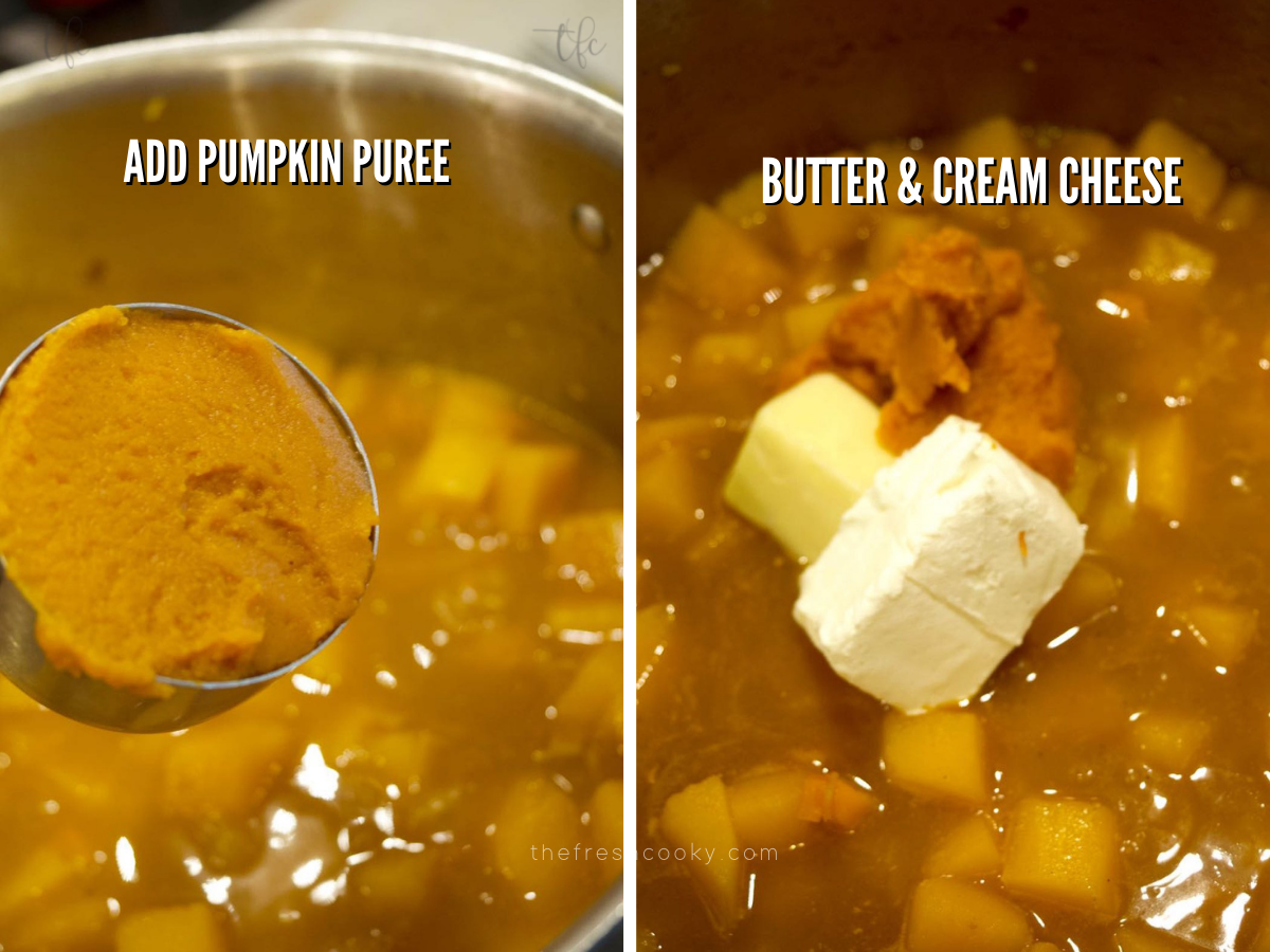 Process shots for autumn squash soup adding pumpkin puree and adding butter and cream cheese.