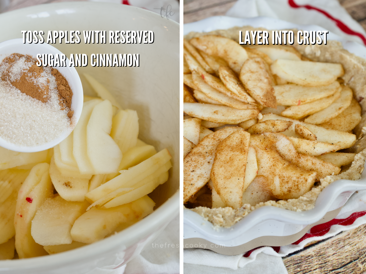 Adding cinnamon sugar to sliced apples and then apples layered into gluten-free apple pie crumble crust.