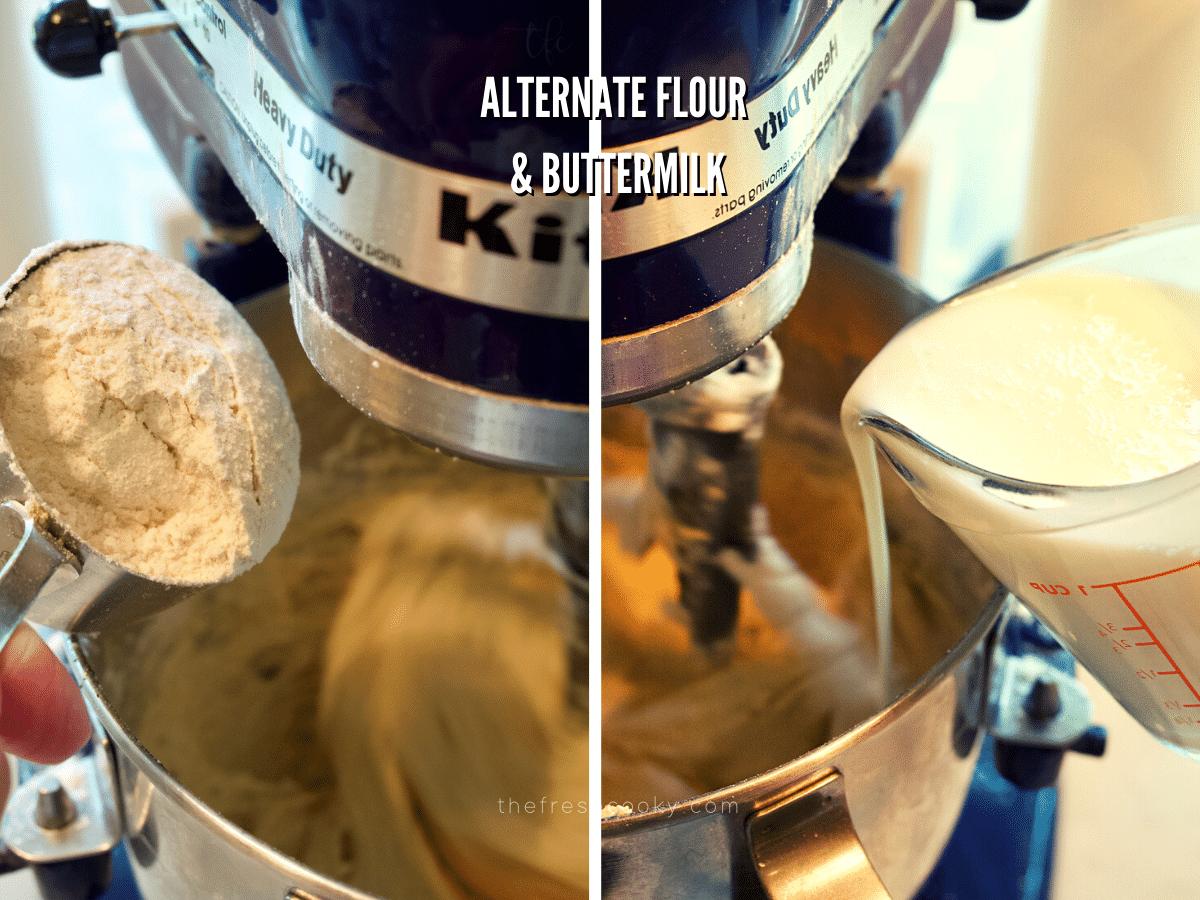 Alternating flour mixture and buttermilk in pear cake recipe.
