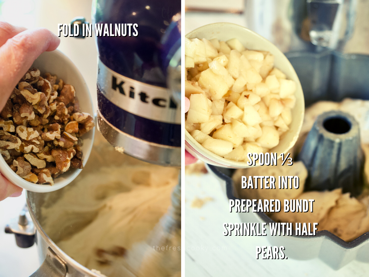 Adding walnuts to pear bundt cake and pouring half the pears onto the bundt batter in prepared pan.