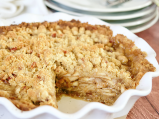 Gluten-Free Apple pie with slice removed revealing juicy layers of apples square image.