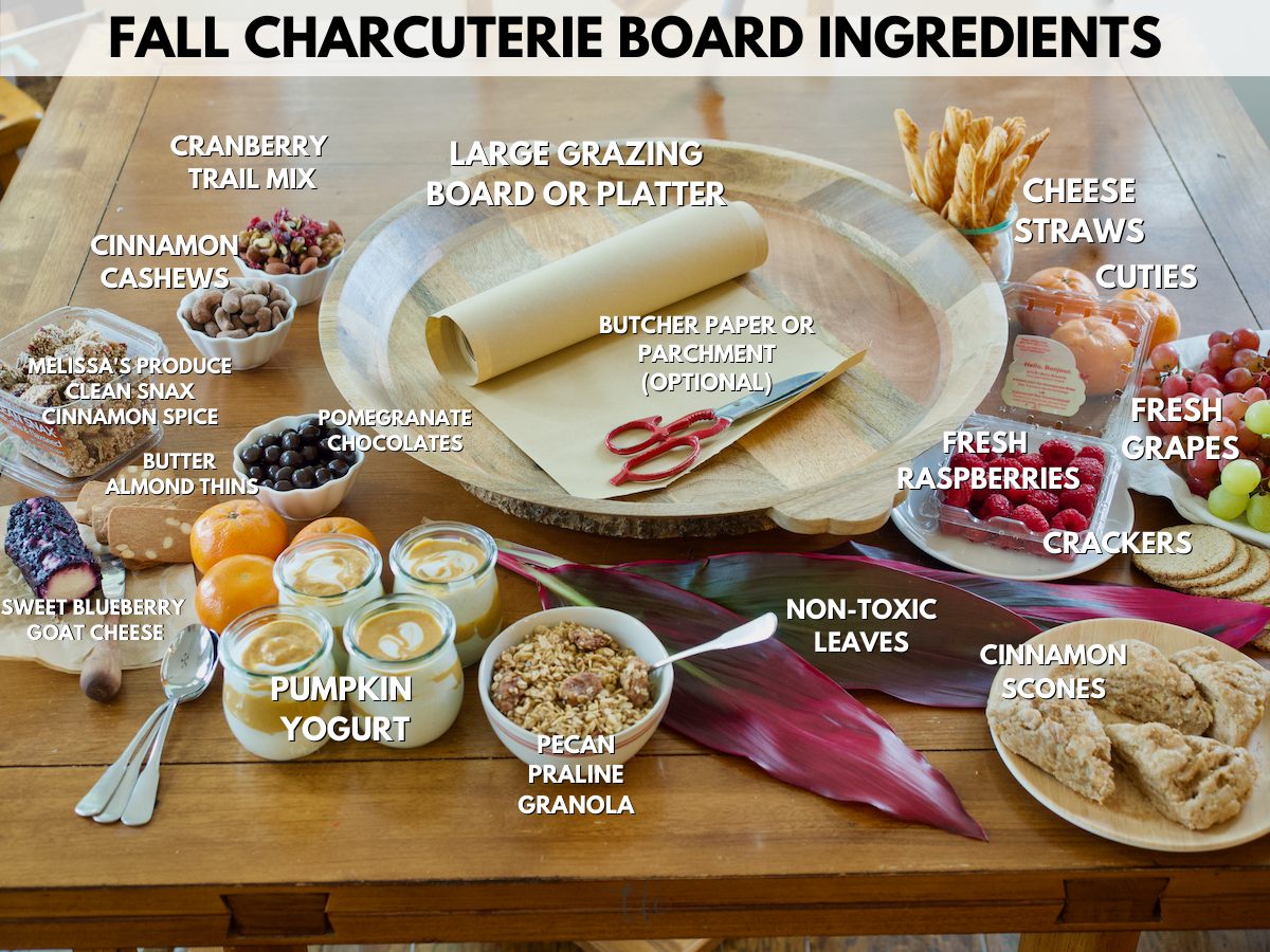 Fall Charcuterie Board ingredients shot labeled.