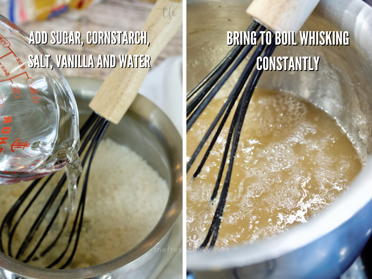 Sugar syrup for gluten-free apple pie.
