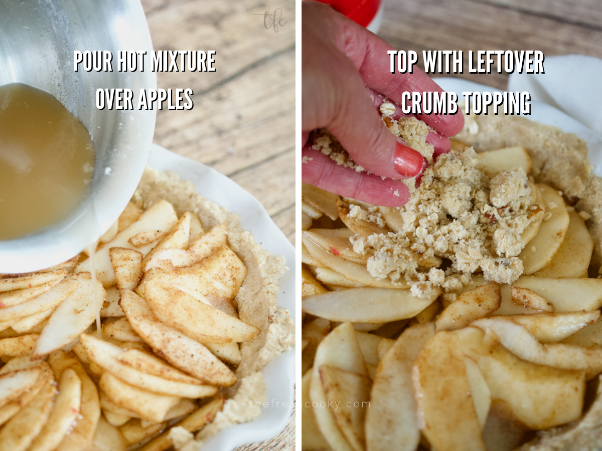Pouring hot sugar syrup over top of apples and then adding final crumb topping mixture onto gluten-free apple pie.