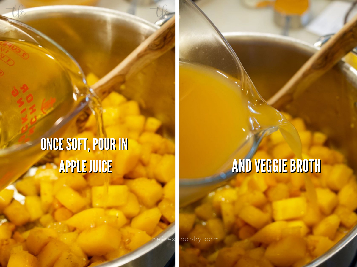 Process shots for autumn squash soup, adding apple cider and vegetable broth.