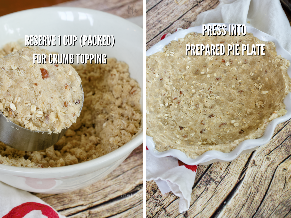 GF Apple Pie Crumble Topping process shots, reserving 1 cup of crumble for topping and pressed crust into pie dish.