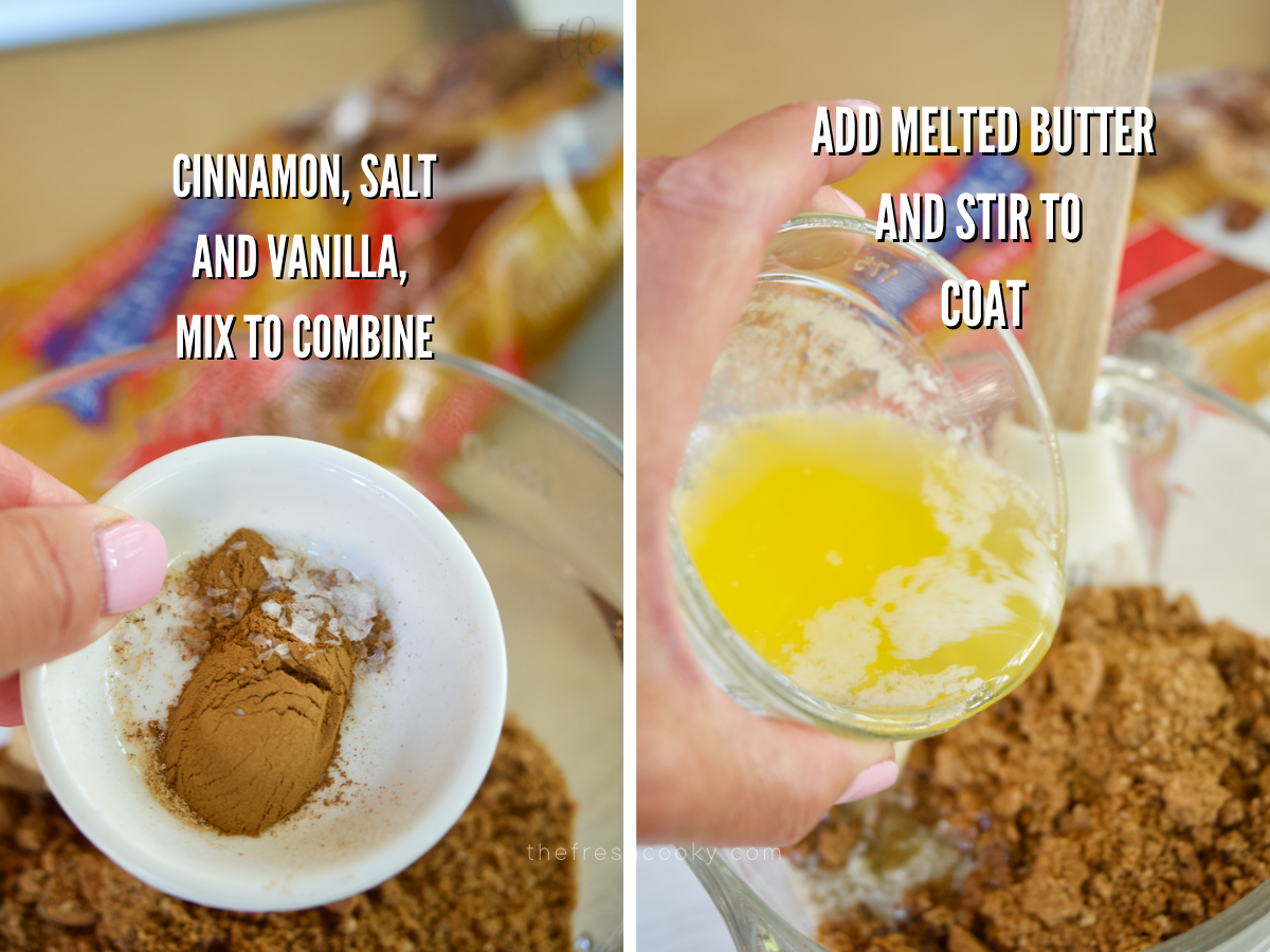 Graham Cracker Crumble process shots adding cinnamon and salt and pouring in melted butter.