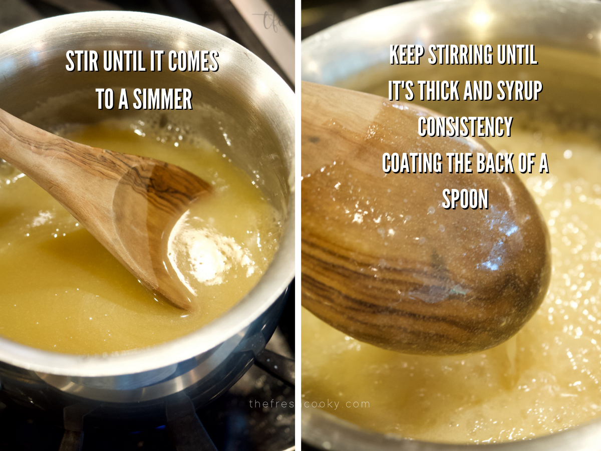 Thick vanilla sauce in saucepan with wooden spoon stirring, second image of sauce coating back of wooden spoon.