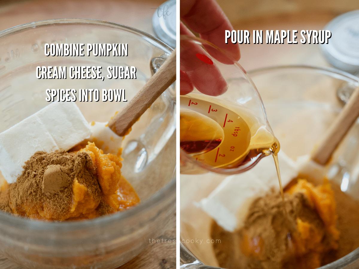 Process shots for pumpkin yogurt, image of medium bowl with ingredients for pumpkin yogurt, second image adding maple syrup.