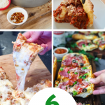 Pin for 6 easy Pizza recipes for pizza month showing 4 images of a variety of pizzas.