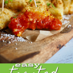 Pin for easy toasted raviolis, image of toasted ravioli with toothpick for serving.