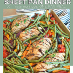 Pin for Balsamic Autumn Sheet Pan Dinner with chicken and veggies on a sheet pan and drizzled with balsamic glaze.