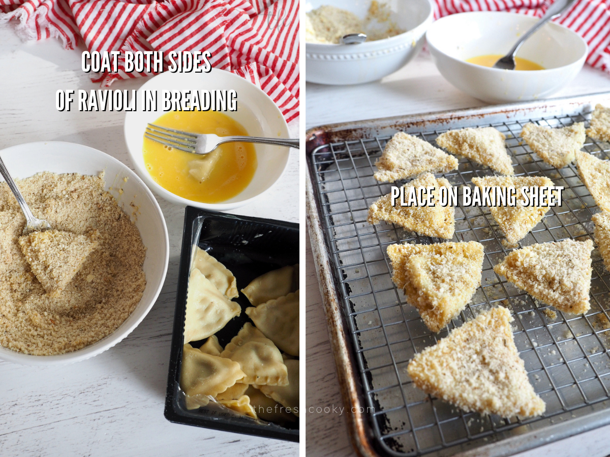 Process shots for air fryer ravioli with one image showing ravioli in egg wash and another in breadcrumbs, second image of breaded ravioli on wire rack and baking sheet.