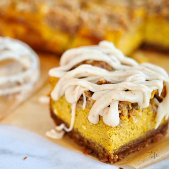 Pumpkin Streusel bar with brown butter glaze on top.