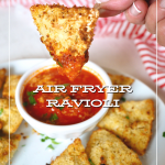 Toasted Ravioli in air fryer with image of hand holding up toasted ravioli after dipping in marinara sauce.