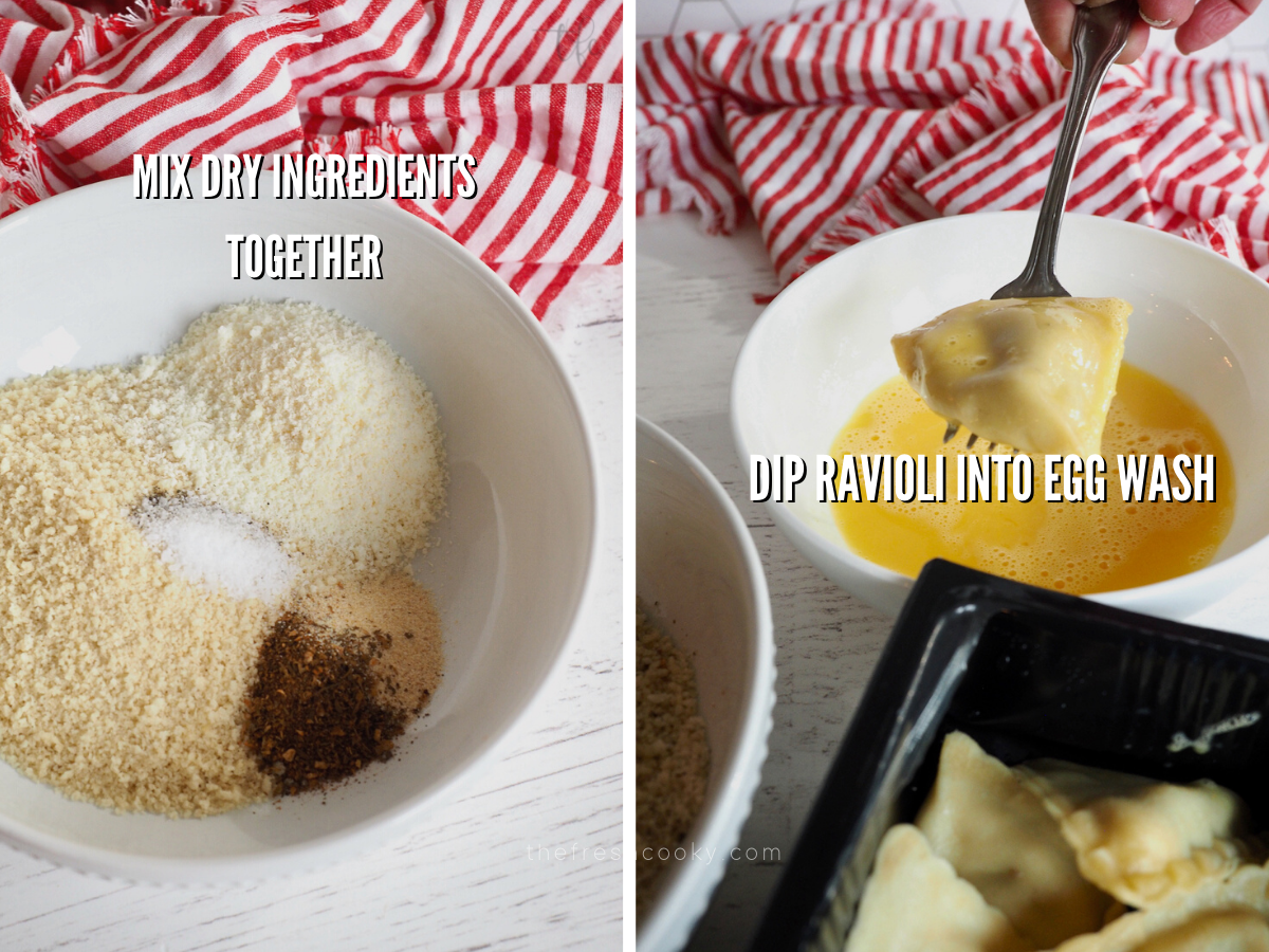 Air Fryer ravioli, mixing dry ingredients in shallow bowl and second image dipping ravioli in egg wash.