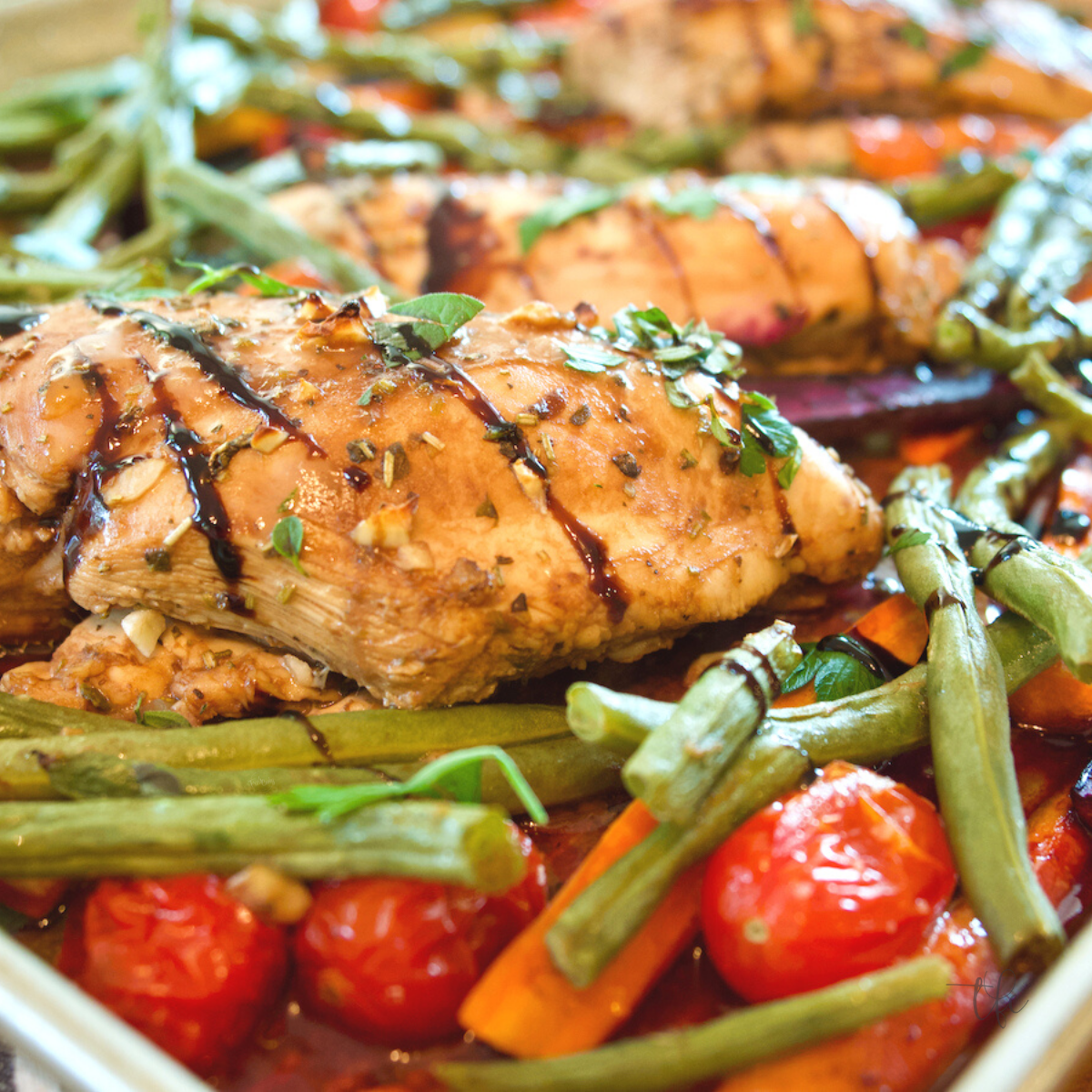 Square image for balsamic maple sheet pan chicken and veggies.